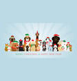 group of dogs wearing christmas costume vector image vector image
