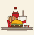 group of fast food products flat vector image