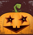 halloween cartoon pumpkin with face on dark vector image