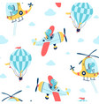 hand drawing balloon and cute animals vector image