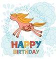 Happy birthday card with cute running horse vector image