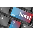 Hotel key in place of enter key - business concept vector image