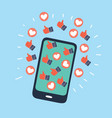 human hand holding mobile phone with social vector image vector image