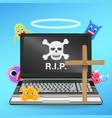 laptop computer dead virus infected vector image vector image
