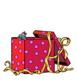 little puppy dog in a gift box vector image