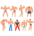 Muscly Bodybuilders Funny Characters Set vector image vector image