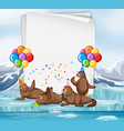 paper template with cute animals in party theme vector image