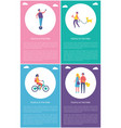people in park relaxing and resting cartoon poster vector image vector image