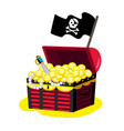 pirate chest gold icon vector image