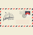 postal envelope on the theme of travel with stamp vector image vector image