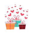 present boxes with hearts valentines day concept vector image