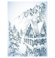 refuge in the mountains winter cabin vector image