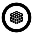 rubics cube game shape black icon in circle vector image