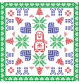 Scandinavian Nordic winter cross stitch knitting vector image vector image