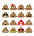 set of cute poop emoji vector image
