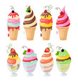 set of isolated ice cream on white vector image vector image