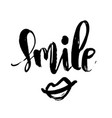 smile handwritten brush lettering text modern vector image vector image