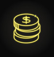 stack coins icon in neon line style vector image
