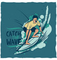 surfing t-shirt label design vector image