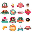vintage bakery collection of icons and tags vector image vector image