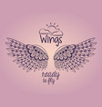 wings ready to fly emblem vector image vector image