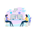 women characters sitting at desks with computer vector image vector image
