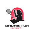 womens badminton sport logo vector image