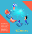 young people play video game in augmented reality vector image vector image