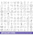 100 salary icons set outline style vector image