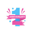 1st anniversary colored logo design happy holiday vector image vector image