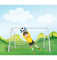 A boy catching the soccer ball vector image vector image