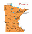 a map of minnesota with major cities and national vector image vector image