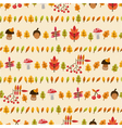 autumn seamless pattern with mushrooms berries vector image