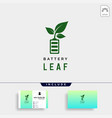 battery leaf eco nature energy renewable simple vector image
