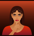 beautiful brunette girl with finger at lips vector image
