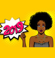 black african-american young girl pop art vector image vector image
