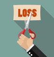 Businessman cut loss vector image vector image