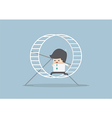Businessman running in a hamster wheel vector image vector image