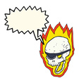cartoon flaming pirate skull with speech bubble vector image vector image
