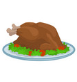 cartoon fried thanksgiving day turkey on tray vector image vector image