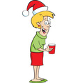 Cartoon Lady Wearing a Santa Hat vector image vector image