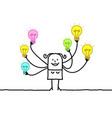 cartoon woman with multi light bulbs vector image vector image