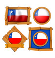 chile flag on different frames vector image vector image
