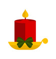 christmas candle icon with a ribbon vector image vector image