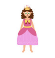 cute princess in pink dress and crown beautiful vector image