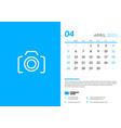desk calendar template for april 2020 week starts vector image