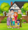 family in front house yard vector image vector image