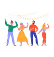 flat dancing people vector image