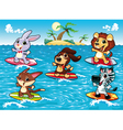 Funny animals are surfing in the sea vector image