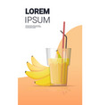 glass fresh banana juice with straw and fruits vector image